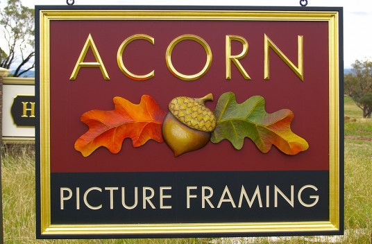 Acorn Picture Framing Business Sign - Danthonia Designs USA