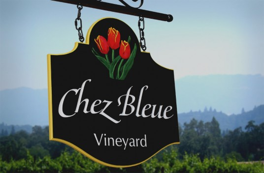 Chez Bleue Vineyard Sign