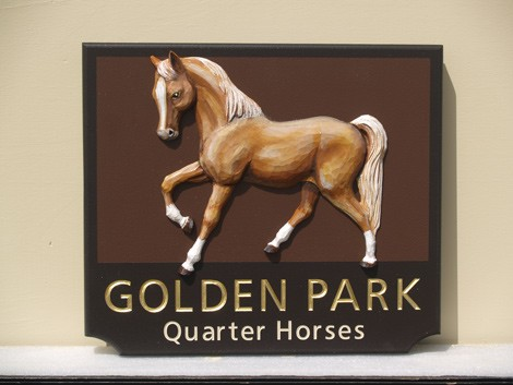 Golden Park Horse Sign