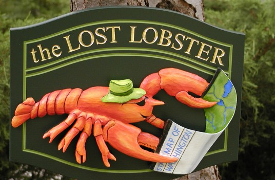 The Lost Lobster Cabin Sign