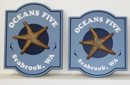 Oceans Five Beach House Signs