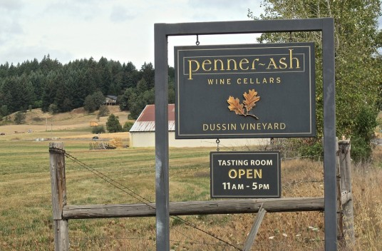 Penner Ash Winery Sign on location