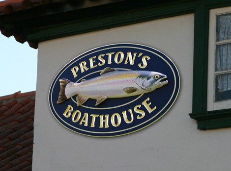 Preston's Boat House Fish Sign
