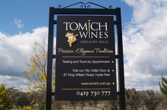 Tomich Winery Sign