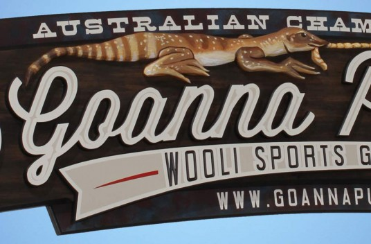 Wooli Goanna Pulling Sign Detail
