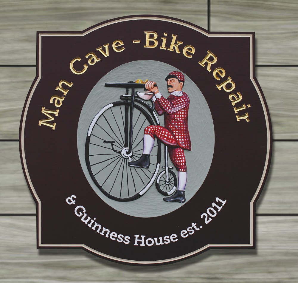 Man cave bike repair house sign danthonia designs usa for House sign designs