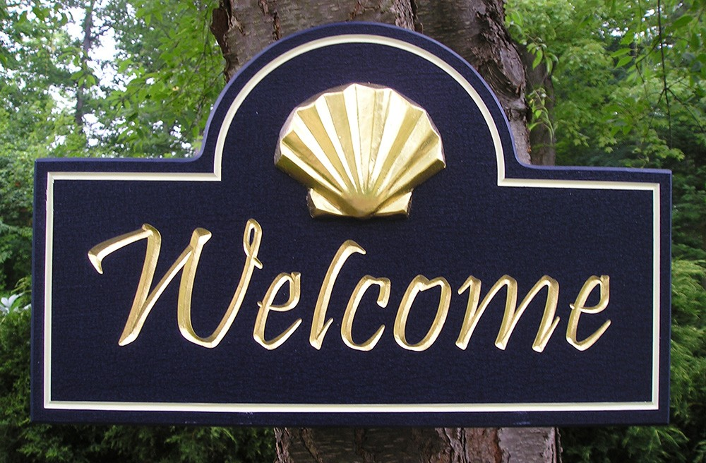 Shell welcome sign danthonia designs usa for House sign designs