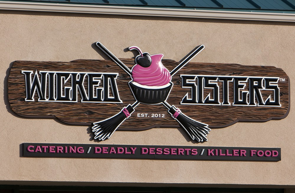 Wicked sisters cupcake shop sign danthonia designs usa for D sign shop