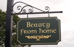 Beauty from Home Hanging Sign