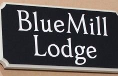 Blue Mill Lodge Sign