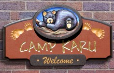 Camp Karu Cabin Sign