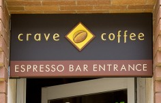 Crave Coffee Cafe Entrance Sign
