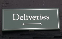 Deliveries Green Wayfinding Sign