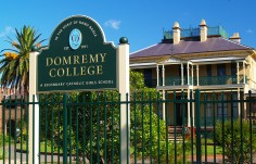 Domremy College School Sign on Location