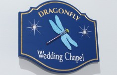 Dragonfly Wedding Chapel Cabin Sign