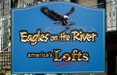 Eagles on the River Company Sign