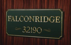 Falconridge House Number Sign