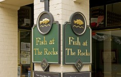 Fish at the Rocks Restaurant Sign