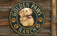 Golden Paws Ranch Sign
