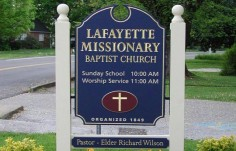 Lafayette Missionary Church Welcome Sign