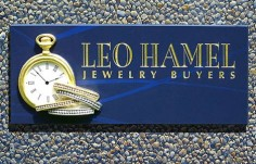 Leo Hamel Jewelry Buyers Retail Sign