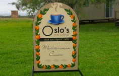 Oslo's on Otho Mediterranean Cafe Sign