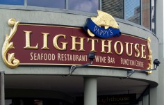Pappy's Lighthouse Restaurant Sign