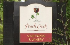 Peach Creek Vineyards Sign onsite