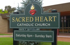 Sacred Heart Church Welcome Sign