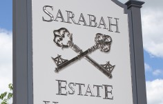 Sarabah Estate Vineyard Sign up close
