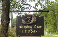 Sleeping Bear Lodge Sign with Scroll