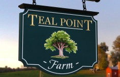 Teal Point Hanging Sign