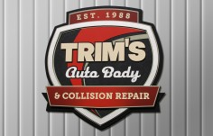 Trim's Auto Body Business Sign