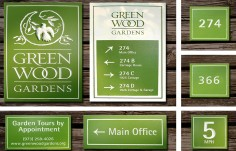 Green Wood Gardens Wayfinding Signs