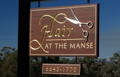 Hair at the Manse Business Sign