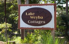 Lake Weyba Cottages B & B Sign