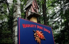 Naughty Pine Sign on Site