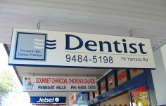 Pennant Hills Dental Sign on Location
