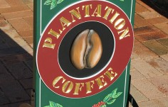 Plantation Coffee sign detail