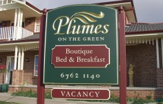 Plumes on the Green B & B Sign
