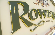 Rowena Town Entry Sign Up Close